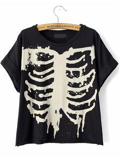 Black Short Sleeve Skeleton Print T-Shirt 10.83