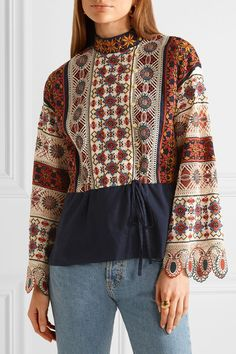Tory Burch - Corinna Embroidered Cotton-voile Blouse - Multi