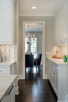 White Kitchen with Walls Painted Gray Owl. City Homes Design
