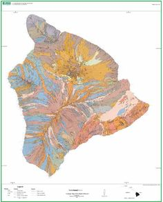 Geologic Map of the Island of Hawaii As art, it would look more interesting if the sea was coloured and detailed in some may.