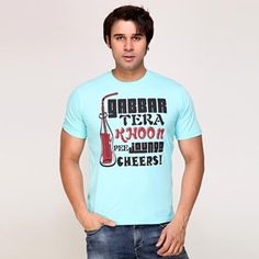 Miller and Schweizer Men Sky Blue T-shirt  #Men Blue t-shirt in blended and treated cotton, has a round neck, short sleeves and popular Bollywood dialogue printed on the front.  #STYLE TIP Have fun with your style this season with Gabbar Tera Khoon Pee Jaunga dialogue #t-shirt, team it with white chinos, wear a pair of #cool loafers and also add #sunglasses to your ensemble for a complete #look.  Miller & Schweizer #collection is a combination of blended and treated cotton in rugged #styles