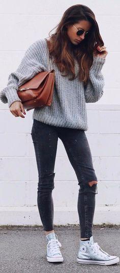 knits + denim 2017 street style