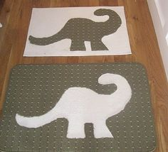 Homemade bath rug. Don't care for the dinosaur, probably would cut out a fleur de lis symbol...
