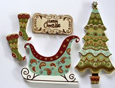 5 pc Wooden Christmas Embellishment,Scrapbook Embellishments,Sleigh,Stockings,Tree, Christmas Sign Embellishment,Old Fashioned Christmas,