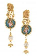 Silver Peacock Saraswati Earrings