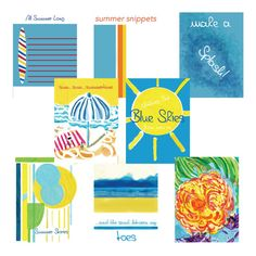 "Celebrate the lazy days of summer with the Summer Daze journal card collection. 8 - 3"" x 4"" and 2- 4"" x 6"" cards to download and print. Timetraveldesigns via ETSY Don't just live life, re-live it!"