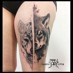 Artist: Manoo Stich, Berlin #wolftattoo #mandalawolf #graphictattoo