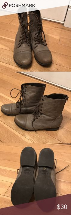 Steve Madden combat boots Steve Madden gray combat boots. Perfect paired with a skirt or skinny jeans. Add a bit of grunge style to your everyday look with these beautiful boots. Some scuffs present in the pictures, but they add more character. Only worn once! Steve Madden Shoes