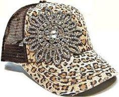 Envy Olive & Pique Rhinestone Mesh Trucker Bling Hat Leopard Flower Bling Destructed Design Grinded Color-Changing High-Quality Rhinestone Applique Adjustable Snap-Back Strap ~ STYLE, STYLE, STYLE!!!!