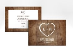 "Save the Date-Karte ""Wood"" A6 Karte braun"