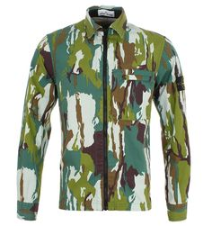 Stone Island Flowing Camo Zip Through Garment Dyed Over shirt  #AlexRecommends