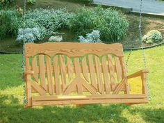 Amish Pine Wood High Back Heart Porch Swing Delightful outdoor swing. Available in 4', 5', or 6' size. Option to add cup holders. What a beauty for your porch or backyard!