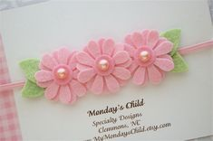 Felt Flower Headband in Daisy Pink - Newborn Headband, Baby Headband, Toddler Headband, Girls Headband Felt Flower Headband in Daisy Pink Newborn by MyMondaysChild Toddler Headbands, Newborn Headbands, Baby Girl Headbands, Elastic Headbands, Flower Headbands, Crochet Headbands, Flower Hair, Felt Diy, Felt Crafts
