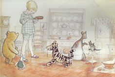 October 14th is Pooh's birthday! - The House at Pooh Corner • Christopher Robin gives extract of malt all around.