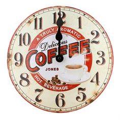 Jones by Newgate Coffee Tin Quartz Wall Clock Coffee Clock, Coffee Tin, Red Clock, Sainsburys, Coffee Company, Argos, Homemaking, Clocks, Retro