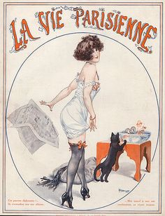 Chéri Hérouard was a French artist known for his numerous illustrations for the magazine La Vie Parisienne . Art Deco Illustration, French Illustration, Vintage Illustrations, Vintage French Posters, Vintage Ads, Vintage Artwork, Old Magazines, Vintage Magazines, Magazin Covers
