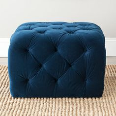ottoman in this color velvet and tufted