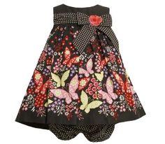 Bonnie Jean Baby/INFANT 12M-24M 2-Piece BLACK MULTICOLOR BOW TRIM BUTTERFLY BORDER PRINT TRAPEZE Special Occasion Girl Party Dress Bonnie Jean, http://www.amazon.com/dp/B008C28GL8/ref=cm_sw_r_pi_dp_Khm3pb14XVJ1T