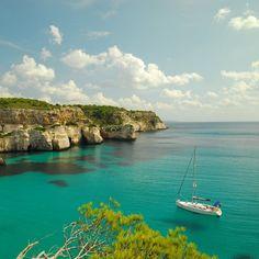 Dzaaaang, that boat looks like it's floating on air!  Menorca, Spain