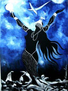 Iemanjá ou Yemanjá, orixá feminino dos lagos, mares e fertilidade, mãe de todos os Orixás de origem yorubana.