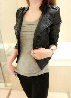 New-Fashion-Punk-Women-Cloth-leather-jacket-Motorcycle-Slim-Outwear-Coat-Jacket