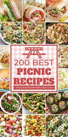 200 Best Picnic Recipes Looking for easy and refreshing picnic food ideas? Then try these delicious sandwiches, appetizers, salads, desserts, drinks and more on your next picnic! Easy Summer Meals, Healthy Summer Recipes, Summer Picnic Recipes, Food For Summer, Summer Dinner Ideas, Recipes Dinner, Summer Picnic Salads, Picnic Salad Recipes, Fathers Day Dinner Ideas