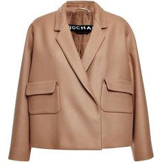 Rochas Camel Basic Felt Jacket (95.070 RUB) ❤ liked on Polyvore featuring outerwear, jackets, rochas, beige jacket, snap jacket, flap jacket and felt jacket