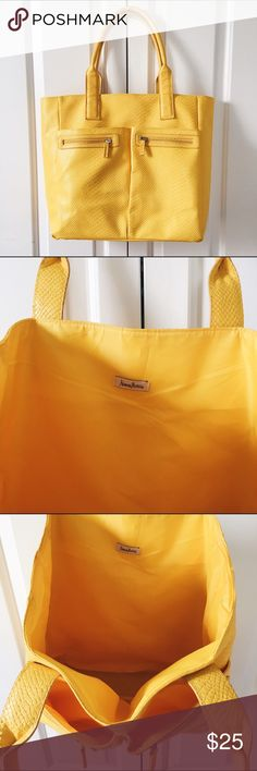 """Neiman Marcus Faux Alligator Tote Bright yellow, faux alligator Neiman Marcus tote bag. Has two open external pockets and two zippered external pockets. 13"""" x 13"""" x 5"""". Neiman Marcus Bags Totes"""