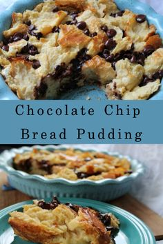 Chocolate Chip Bread Pudding, Chocolate Chip Recipes, Chocolate Muffins, Bread Pudding Recipes, Chocolate Chips, Leftover Bread Recipes, Baguette Bread, Easy Desserts