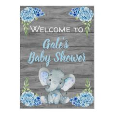 Elephant Decorations  Props  Signs  Poster  Party  Favors Blue Boy Elephant Baby Shower Photo Booth Frame /& FREE Welcome Sign