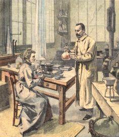 Pierre et Marie Curie dans leur laboratoire. 19 avril 1906 : mort de Pierre Curie, pionnier de l'étude de la radioactivité. Histoire de France. Patrimoine. Magazine