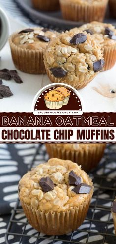Kids and adults love these banana oat muffins with peanut butter and chocolate chips! This on-the-go breakfast takes less than 15 minutes of prep. Check out how you can make this back to school recipe vegan and gluten-free! Delicious Breakfast Recipes, Easy Delicious Recipes, Vegan Recipes Easy, Sweet Recipes, Yummy Food, Tasty, Banana Oat Muffins, Chocolate Chip Muffins, Chocolate Chip Oatmeal