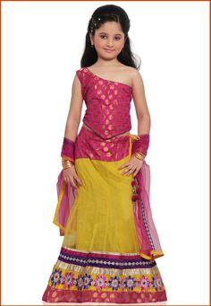 Yellow Chanderi Silk and Net Readymade Lehenga Choli with Dupatta Online Shopping: UNJ285