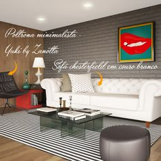 O sofá pode ser a estrela de um ambiente, como no caso deste living com o modelo Chesterfield da Bellarte.