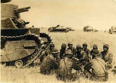 "Khalkhin Gol. ""Japanese army tank crew taking a break in the Mongolian steppes."" 1939"
