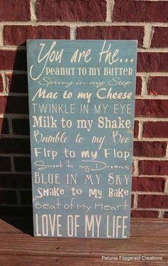 12x24 You are the Peanut to my Butter...  Typography Style Painting. , via Etsy.