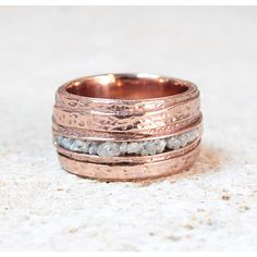 Rose Gold White Diamond Karma Ring by Monkey Forest Road on OpenSky. #ring #giftguide #opensky