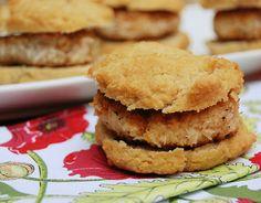 Coconut & almond flour biscuits - eggs, coconut flour, almond flour, baking powder (check label), coconut oil and salt