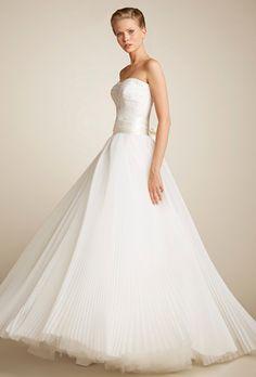 Beautifully beaded sweetheart bodice ball wedding dress, with a silk organza pleated skirt and silk belt