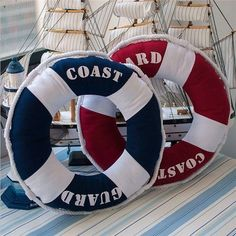 Unique Premium Quality Trendy Elegant Nautical Style Life Ring Round-Shaped Novelty Decorative Accent Pillow Blue or Red #boatingtips