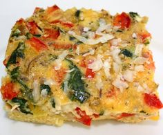 Vegetable Egg Casserole: I made this last night.  Super healthy and delicious!  You can add salsa and sour cream and throw it in a tortilla for a breakfast burrito.