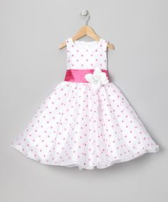BLook at this Pink Polka Dot Organza Dress - Infant, Toddler & Girls by Kid Fashion Little Girl Outfits, Cute Outfits For Kids, Little Girl Fashion, Little Girl Dresses, Pink Fashion, Fashion Kids, Baby Girl Dresses, Baby Dress, 50s Dresses