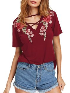 Women's Knits And Tees - MakeMeChic Women's Sexy Cross Front Tops Floral Embroidered Short Sleeve T Shirt at Women's Clothing store: Plus Size Tees, Plus Size Blouses, Floral Tops, Embroidered Shorts, Latest Street Fashion, Online Fashion Stores, Everyday Fashion, T Shirts, Sexy Women