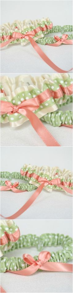 Custom Ivory, Sage Green Polka Dot and Peach Wedding Garter Set-by The Garter Girl