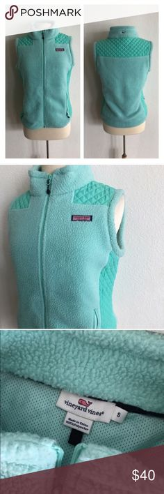 """FINAL💲Vineyard Vines vest Vineyard Vines vest. Size S. Measures 24"""" long with a 38"""" bust. 100% polyester. Two pockets. This has a little bit of stretch. Great used condition! Teal colored 🚫NO TRADES 💲Reasonable offers accepted 💰Ask about bundle discounts Vineyard Vines Jackets & Coats Vests"""