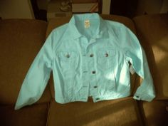 Faded Glory Clean Blue Sleeve Button Front Jacket Sz S 4/6