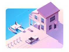 """Isometric design is a way of presenting design in three dimension. """"Design Inspiration 17 Best Isometric Designs"""" is published by Angga Pradikta in uxmarker. House Illustration, Digital Illustration, Graphic Illustration, Whale Illustration, Isometric Art, Isometric Design, The Draw, Game Design, Pixel Art"""