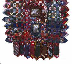 Fabulous woven tie memory quilt by Rayela Art