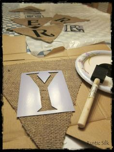 DIY bunting (stencils from walmart)