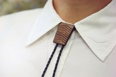 Black Leather Bolo Tie Wood Trapezium Slider Genuine by TheLaserCo